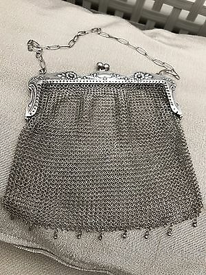 Antique  Art Deco Sterling Silver Mesh Chainmail Evening Bag Purse And Chain
