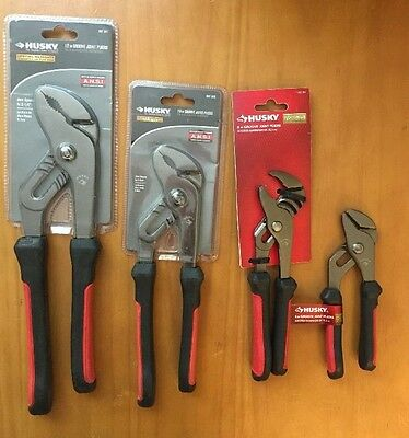 """4 Piece Set of Husky Groove Joint Pliers (12"""", 10"""", 8"""", and 6"""")"""
