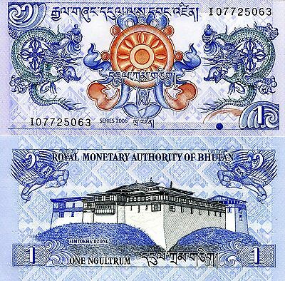 BHUTAN 1 Ngultrum Banknote World Paper Money UNC Currency PIck p-27a Dragons