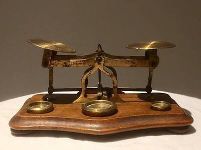 Antique Victorian small brass Postal scale Perry & Co. 1800's