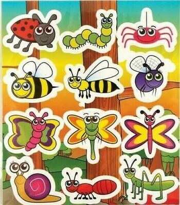 12 Sheets INSECT Stickers Childrens Birthday Party Loot Bag Fillers FREEPOST