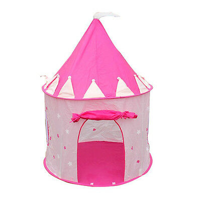 Portable Pink Pop Up Play Tent Kids Girl Princess Castle Outdoor House T5F5