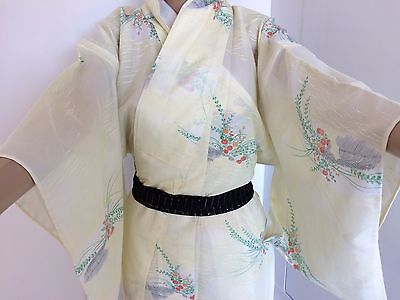 Authentic Japanese yellow summer kimono for women, imported from Japan (F1530)