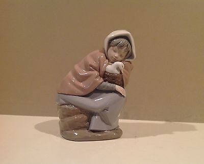 NAO Lladro Porcelain Girl Sitting on Log Figurine with Duck in Basket