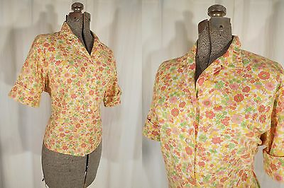Plus Size 1950s Blouse Rockabilly Cotton Shirt Yellow Pink Crop Top 50s XL Large