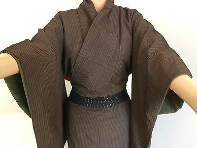 Authentic Japanese brown kimono for women, imported from Japan, poor c. (F1532)
