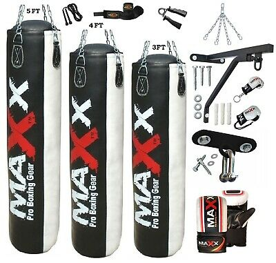 Maxx® Ultimate Boxing Set 3ft, 4ft, 5ft Filled or Empty Punch Bag Gloves Bracket