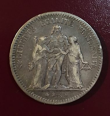 1849-A France Silver 5 Francs Hercules Coin Authentic