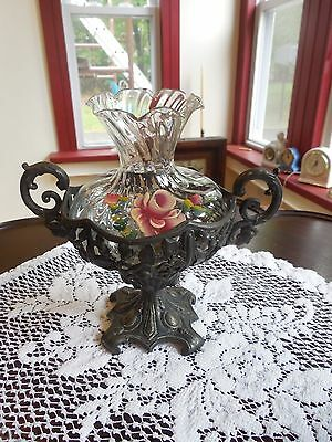 Vintage Hand Painted Glass Vase with Ornate Silver Base