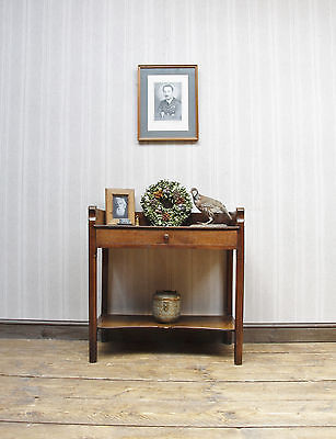 Lovely Rustic Oak Washstand Console with Drawer Antique Oak Table with Undertier