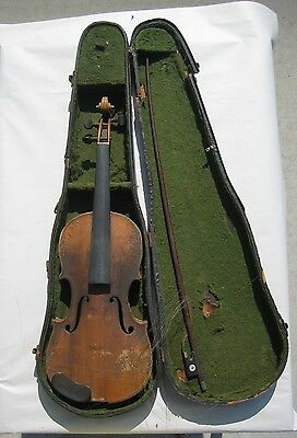 Vtg German VIOLIN, BOW AND CASE
