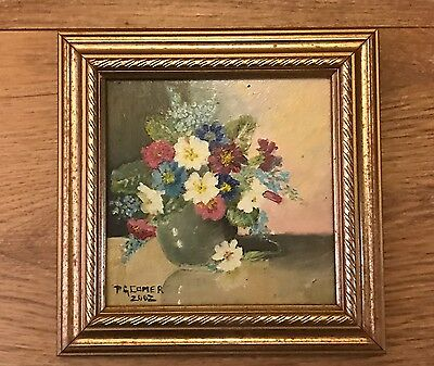 Vintage Miniature Oil Painting Still Life Flowers Picture 2002 Comer Gold Frame