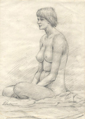 Brittan - Mid 20th Century Graphite Drawing, Nude