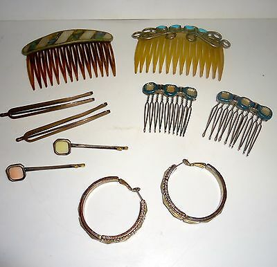 8 Vintage Hair Clips/Combs I Pair Victorian Earrings