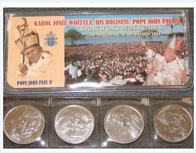 Wholesale Lot Of 100 Congo 4 Piece  Franc Pope John Paul Ii Sets At Below Cost