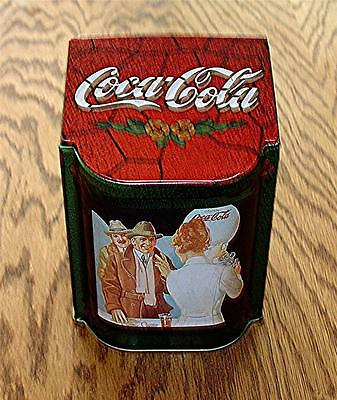 Hard-To-Find 1996 Cola Cola Tin Canister By Bristolware With Slanted Hinged Lid