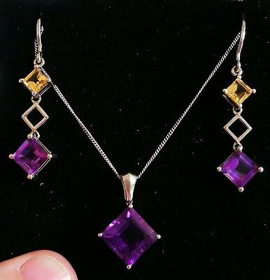sterling silver earrings and pendant set purple amethyst and citrine (earrings)