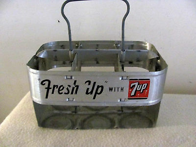 """Vintage 7up tin metal bottle carrier """"Fresh Up With 7up"""""""