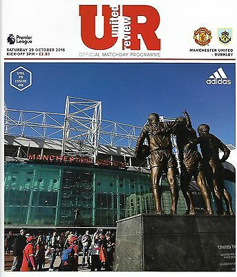 MANCHESTER UNITED v BURNLEY Premier League 2016/17 MINT