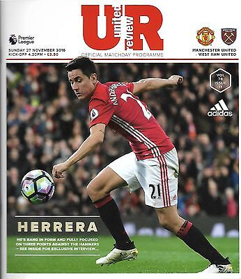 MANCHESTER UNITED v WEST HAM UNITED Premier League 2016/17 MINT
