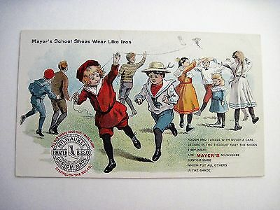 Victorian Trade Card for Mayer's Shoes w/ School Children Playing *