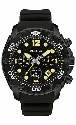 Bulova Men's 98B243 Sea King UHF Chronograph Watch Yellow Accents Black Watch