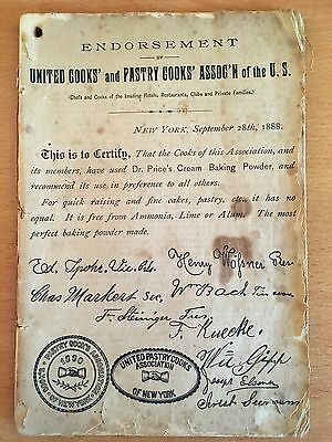 1888 UNRECORDED COOKBOOK United Cooks & Pastry Cooks Association of the U.S.