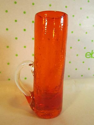 Rainbow Crackle Glass Orange Straight Sided Vase w Applied Low Handle 4x1.5""