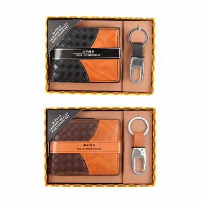 Woven Leather Wallet & Keychain Set Father's Day Gift Set WKB1701 - WKB1702