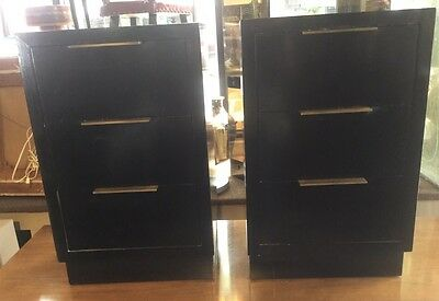 Pair Of Mid Century Modern Black Lacquered  Art Deco Nightstands End tables