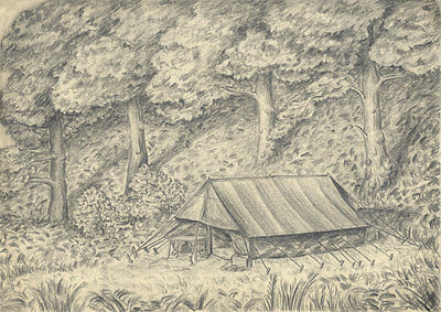 E. Gaston Longney - Mid 20th Century Graphite Drawing, Tent in Forest