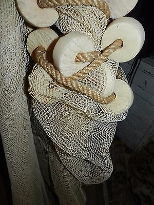 Vintage Seine Net Fishing Large 200'  X 3' Plus 4'poles Floats, Weights
