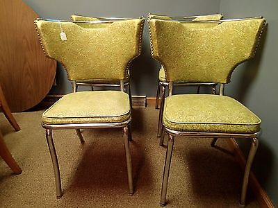 Set of 4 1950's chrome and vinyl dining chairs