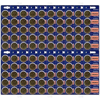 100 pc SONY CR2032 CR 2032 3V Lithium Batteries Expire 2027 (100 Coin Cells)