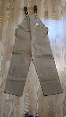 Mens Carhartt Brown Overalls Work Farm Size 36X30
