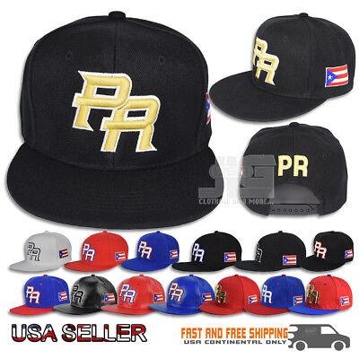 Puerto Rico Hat Snapback Flag 3D PR METAL Flat Bill Rico Baseball Poly Cap NEW