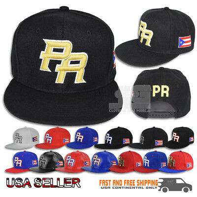 Puerto Rico Snapback hat Flag 3D PR METAL Flat Bill Rico Baseball Poly Cap NEW