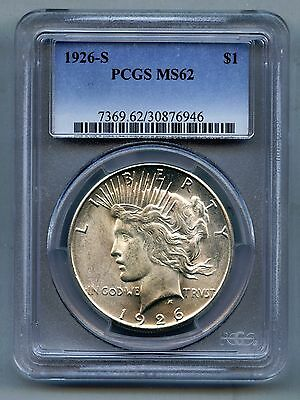1926 S Peace Silver Dollar -- PCGS MS 62 -- Mint State!!  Free Shipping in USA!!