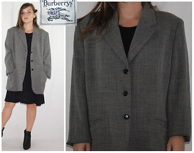 Vtg 80´s BURBERRYS blazer WOOL BLEND graphite GRID made in Spain BOYFRIEND FIT