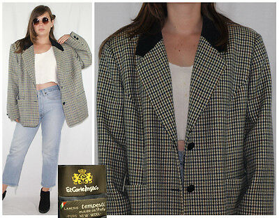 Vtg 80´s 100% NEW WOOL blazer MADE IN ITALY autumn palette HOUNDSTOOTH british