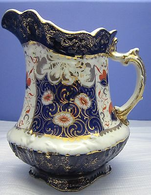 19Th C Staffordshire Jug/ Pitcher Victorian Derby Imari Colours Cobalt Blue Gilt