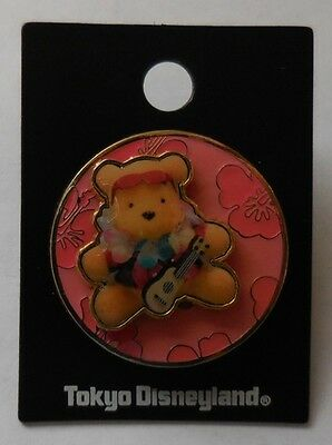 Disney Pin TDL Aloha Pooh (Pink Flowers) 3D/Slider Pin