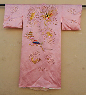 Antique Chinese Silk Hand Embroidered Robe Kimono Dress Textile Art (X319)