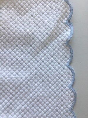 Pottery Barn Kids, Crib Bedding, Bedskirt, White With Blue Trim, 100% Cotton