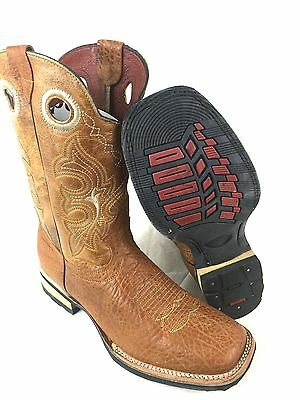 Men's Rodeo Cowboy Boots Genuine Leather Western Square Toe Boots Tan Color