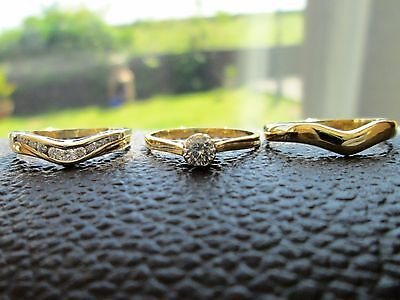 18ct Yellow Gold .33ct Diamond Engagement Ring Solitaire Eternity Wedding Set