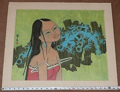 Tay Chee Toh Signed Woodcut Ink & Watercolor South Asian Girl Singapore Malaysia
