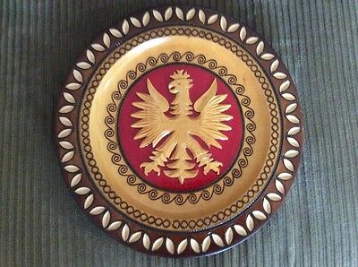 "Vintage Polish Carved 11"" Wood Plate Crowned Eagle Coat of Arms"