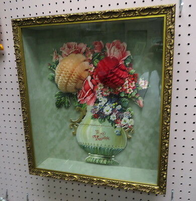 "early 15"" German Die Cut Valentine / floral fold out flowers in nice frame LOOK"