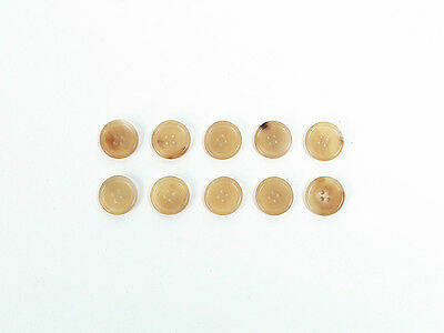 10 X 15mm REAL HORN BUTTONS (Beige) - For Tailor Suits Jackets Trousers